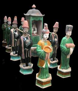Ming Glazed Terracotta Ceremonial Processional Set Consisting of Ten Figures and a Throne