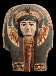 New Kingdom Painted Wooden Mask from a Sarcophagus