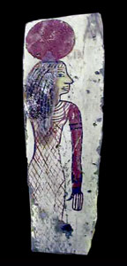 Ptolemaic Painted Panel Depicting Isis from the Back of a Wooden Sarcophagus