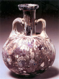 Roman Purple-Colored Splashed Glass Flask with Two Handles