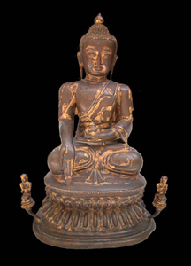 Mandalay Gilt Bronze Sculpture of Buddha Seated on a Double Lotus Throne Flanked by Two Disciples