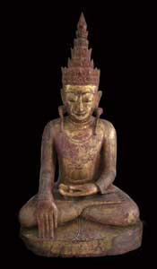 Shan Gilt Wood Sculpture of the Buddha Forming the Bhumisparsa Mudra