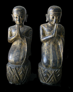 Pair of Shan Gilt Wooden Disciples