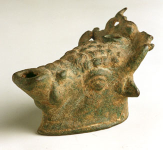 Roman Bronze Oil Lamp in the Form of a Bull's Head